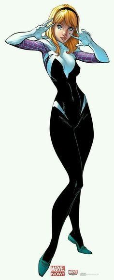 Marvel Comics Art, Marvel Comic Universe, Spider Girl, Spider Women, Gwen Spiderman, Character Design Disney, Black Cat Marvel, Superhero Characters, Cartoon Girl Drawing