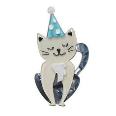 """Erstwilder Limited Edition Party Animal Brooch. """"People call him the cat in the (party) hat. And as you can see he is quite satisfied with a moniker like that. """" Party Hats, I Party, Quirky Gifts, Rockabilly Fashion, Vintage Children's Books, Animal Party, Cute Jewelry, Vintage Jewelry, Jewelry Branding"""