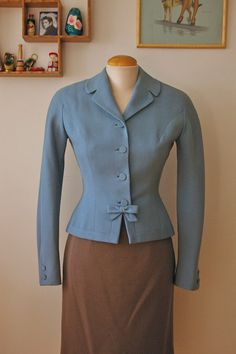 blue wool suit coat 1940s - wow that bow at the waist!