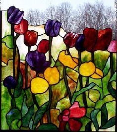 <3 beautiful Stained Glass ~ Spring Flowers