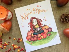 Autumn Dreams Watercolor Illustration  Redhead by EbenezerDesigns fall trees character design print printable