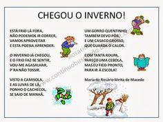 Aqui partilho, de novo, uma poesia escrita para falar do Inverno às crianças, espero que gostem :)