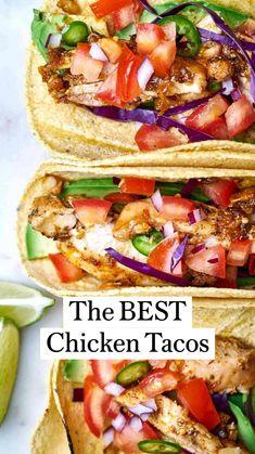 Healthy Taco Recipes, Healthy Tacos, Mexican Food Recipes, Cooking Recipes, Grilling Recipes, Grilled Chicken Tacos, Easy Chicken Tacos, Authentic Chicken Tacos, Crockpot Chicken Tacos