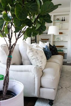 Loom Goods mud cloth pillow with JL Furniture. House Seven Design. English rolled arm sofa.