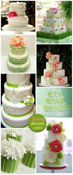Spring Wedding Cakes - like the third down on the right cake but in coral possibly
