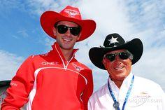 Marussia's Alexander Rossi and 1978  World Champion Mario Andretti.