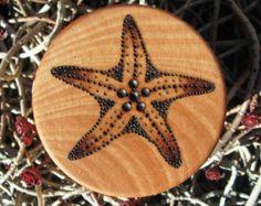 "Sea Star Starfish Pyrography Woodburning on 2 1/8"" Diameter Round Wood Box"