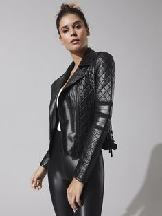 836133c8aa9ff Renegade Mesh Moto Jacket in Black by Blanc Noir from Carbon38 Black Faux  Leather