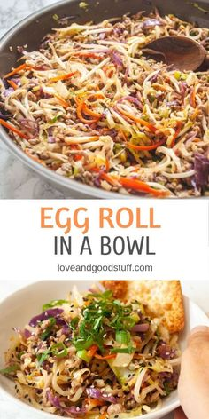 Egg roll bowls are such a great easy and healthy dinner! This popular low carb recipe features seasoned ground pork stir-fried with shredded cabbage, carrots, and bean sprouts. Cooked all in one pan, cleanup is a breeze too! Vegetarian Egg Rolls, Vegan Egg Rolls, Pork Egg Rolls, Vegetarian Recipes, Healthy Recipes, Shredded Cabbage Recipes, Chicken And Cabbage, Roasted Cabbage, Vegan Cabbage Recipes