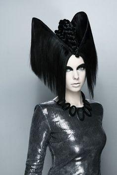 black fringe crown sci fi themed hair
