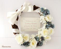 【SOULD OUT】 お花とリボンのウェディングウェルカムリース crescent - blue - / ウェルカムボード