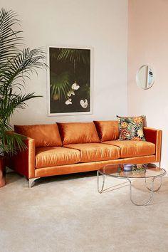 Orange Couch Living Room New Chamberlin Velvet sofa Orange Couch, Oranges Sofa, Living Room Furniture, Living Room Decor, Apartment Furniture, 70s Furniture, Furniture Design, Apartment Sofa, Plywood Furniture