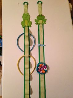 Green headband holder frog hairclip holder green by mybearbowtique