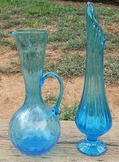 "LOT of 2 Vintage Blue Glass 13 3/4"" SWUNG VASE & 11 1/2"" Optic PITCHER 1960's NR"