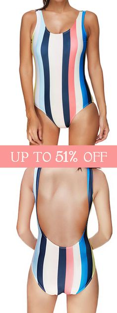 2d47430cdf8 Plus Size U Shape Backless Striped Sexy One Piece Swimwear is fashionable  and cheap