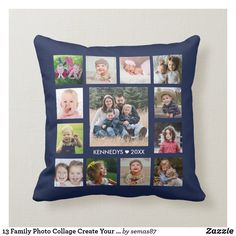 13 Family Photo Collage Create Your Own Navy Blue Throw Pillow