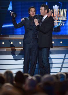 Luke Bryan and Blake Shelton, Luke won Entertainer of the Year award!