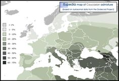 Distribution of the Caucasian admixture in and around Europe.