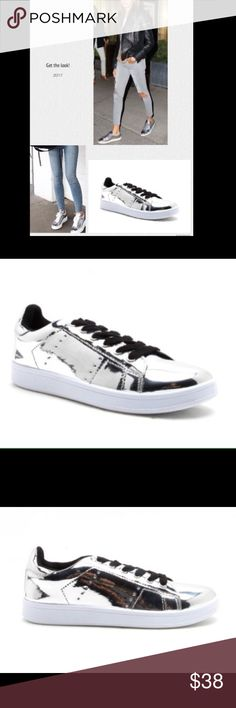 """🆕Metallic silver mirror sneakers Celebrity choice I'm so excited about this new arrival! """"Happy dance"""" 💃🏻 Celebrities love this style and so will you! Grab a pair to wear with your prom dress, skirt, romper or wear them with destroyed boyfriend or skinny jeans... you can't go wrong!! ✅will ship same day, brand new in box!✅ Shoes Sneakers"""