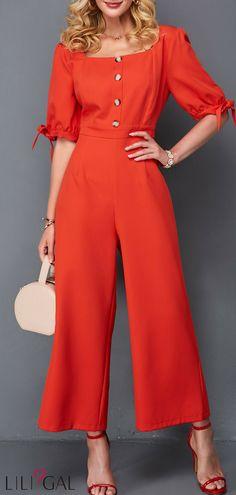 5be0cfbcb Button Detail Square Collar Tie Sleeve Jumpsuit #liligal #jumpsuits  #womenswear #womensfashion Macacão. Macacão Feminino LongoVestido ...