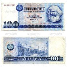East Germany (DDR) 100 Mark 1975 Obverse: Effigy of Karl Marx; Arms of GDR; Reverse: Street scene in East Berlin; Money Worksheets, Money Notes, Euro Coins, East Germany, Karl Marx, Das Kapital, Micro Computer, Soviet Art, One Republic