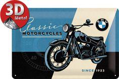 BMW Clásico Motocicletas Since 1923 Vintage Retro Medio 3D Metal con Relieve