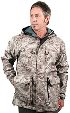 Aqua Design Mens StormShield Insulated Fishing Hunting Pro DWR Water Camouflage Wading Rain Jacket Pacific Sand L * View the item in details by clicking the VISIT button