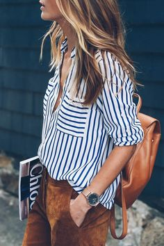 14 beautiful spring outfits with a striped top