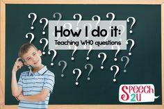 Teaching Who questions - Speech 2U. Pinned by SOS Inc. Resources. Follow all our boards at pinterest.com/sostherapy/ for therapy resources.