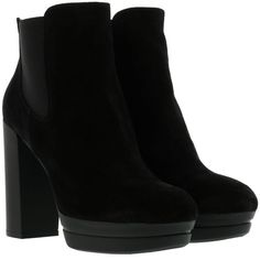 Hogan h299 Ankle Boots (1.385 DKK) ❤ liked on Polyvore featuring shoes, boots, ankle booties, botas, heels, ankle boots, black, black booties, short black boots and black bootie boots