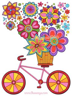"""Bicycle Coloring Page"" from Thaneeya McArdle's ""Hipster Coloring Book"" http://www.amazon.com/gp/product/1574219642/ref=as_li_tl?ie=UTF8&camp=1789&creative=390957&creativeASIN=1574219642&linkCode=as2&tag=arisfu-20&linkId=P5QGNHDHRTMJ2AVK"