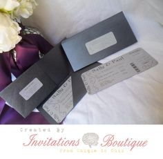 Plane Ticket style wedding invitation