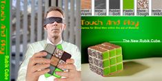 Rubik Cube for Blind by Zhiliang Chen (Yanko Design): Metal, wood, textile, rubber, plastic, and stone