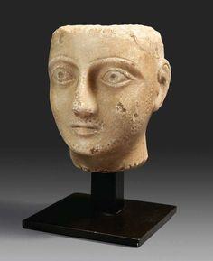South Arabian alabaster head of a man. 2nd-1st century B.C.