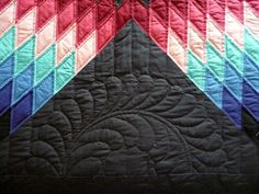 Lone Star Amish Quilt Feather Hand Quilting detail