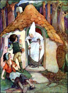 "Hansel and Gretel. From ""Grimm's Fairy Tales"" illustrated by Anne Anderson Hansel Y Gretel, Saint Nicolas, Hermann Hesse, Vintage Fairies, Grimm Fairy Tales, Fairytale Art, Children's Book Illustration, Book Illustrations, Fairy Tail"
