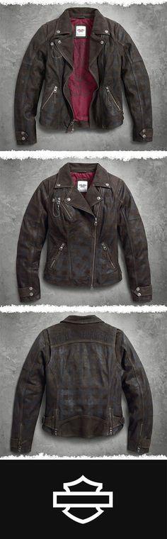 Think outside the lines. | Harley-Davidson Women's Haunt Plaid Leather Biker Jacket