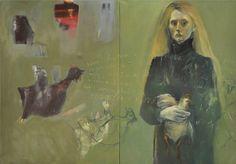 Barbara Porczyńska, Women+Hen=Colour, oil on canvas 2010