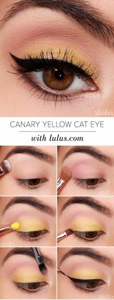 Eyeshadow Tutorials for Beginners - Canary Yellow Eye Makeup Tutorial - Step By Step Tutorial Guides For Beginners with Green, Hazel, Blue and For Brown Eyes - Matte, Natural and Everyday Looks That Are Sure to Impress - Even an Awesoem Video on a Dramatic but Easy Smokey Look - thegoddess.com/eyeshadow-tutorials-beginner