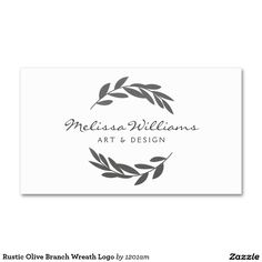 Rustic Olive Branch Wreath Logo Double-Sided Standard Business Cards (Pack Of Make your own business card with this great design. All you need is to add your info to this template. Click the image to try it out! Artist Business Cards, Business Card Logo, Business Card Design, Laura Lee, Branding Design, Logo Design, Graphic Design, Rustic Logo, Name Cards