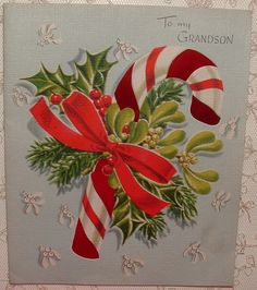 Red Foil Stripes - Candy Cane - 1940's  Vintage Christmas Greeting Card