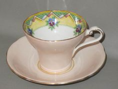 AYNSLEY-Peach-with-Blue-Purple-Floral-Triangle-Design-1930s-CUP-SAUCER