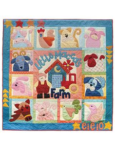 """Stitch up a darling quilt for a new baby!   This quilt is ideal for a baby shower gift or just to receive a new little one into the world! Depicting 12 adorable animals, a farm and a whimsical border, this pattern consists of 13 blocks with an extra block to create the border. Embroider around each animal to make it interactive for growing minds! Finished quilt size is 60"""" x 60"""", ideal for hanging up in a nursery."""