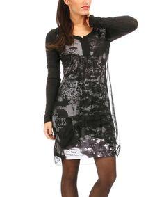 Look at this #zulilyfind! Black & Gray Abstract Empire-Waist Dress - Women #zulilyfinds