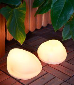 """Solar light """"rocks"""" to light the way. Outdoor Rooms, Outdoor Fun, Summer Garden, Home And Garden, Ikea Garden Furniture, Decoration Ikea, Ikea Design, Balcony Garden, Elle Decor"""
