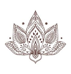 Ornament beautiful card with yoga vector Henna lotus tattoo by An_Vino on VectorStock®