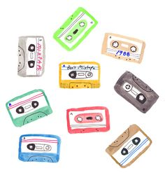 Mixtapes, Illustration by Benjamin Grossblatt. Printable Stickers, Cute Stickers, Cute Illustration, Digital Illustration, Illustrations, Aesthetic Stickers, Easy Drawings, Cute Art, Mixtape