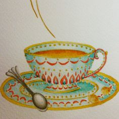 Teacup watercolor painting in turquoise & deep orange. Moroccan style pattern. By Shalom Schultz Designs.