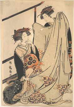 Two Beauties Looking at Kimono Artist: Isoda Koryūsai (Japanese, 1735–ca. 1790) Period: Edo period (1615–1868) Culture: Japan Medium: Polychrome woodblock print; ink and color on paper Dimensions: 12 5/8 x 8 3/8 in. (32.1 x 21.3 cm) Classification: Prints