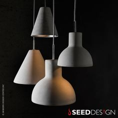 Seed Design Castle Cone Pendant Light  Castle desires to challenge your every perception of texture and lighting. As a material, concrete is exceptionally energy efficient compared to that of metal or glass. By using concrete as a lampshade the Castle has responsibly kept in tune with concepts of green living in mind. $180